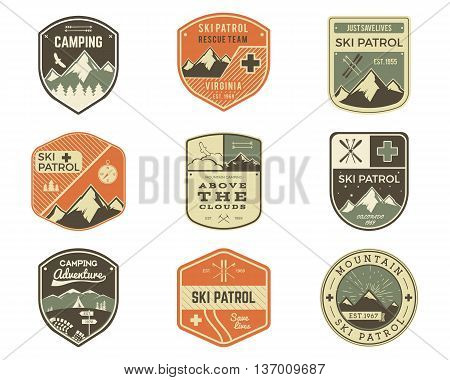 Set of Retro style Ski Club, Patrol Labels. Classic Mountain elements. Winter or summer camping explorer badges. Outdoor adventure logo design. Travel hipster insignia. Adventure patches. Vector