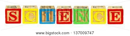 Wooden Toy Letter Blocks Spelling Science Isolated On White