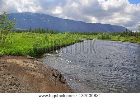 Water landscape wildlife Taimyr. Mountain river on the Putorana plateau.