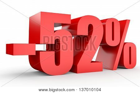Discount 52 Percent Off. 3D Illustration On White Background.
