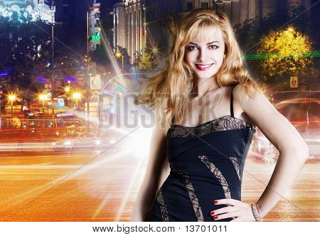 girl  over night city background