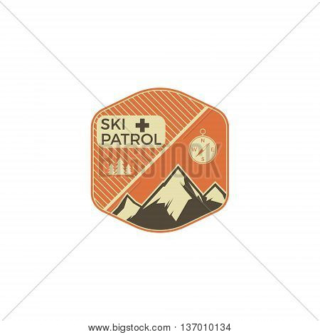 Camping Label. Vintage Mountain ski patrol patch. Outdoor adventure logo design. Travel retro and hipster color insignia. Adventure badge design. Wilderness emblem and badge. Vector