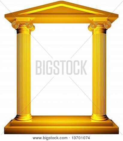 Moldura de ouro iônica