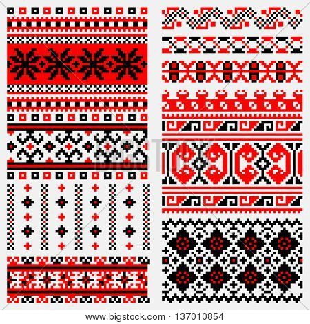 traditional ethnic embroidery stitch in red and black