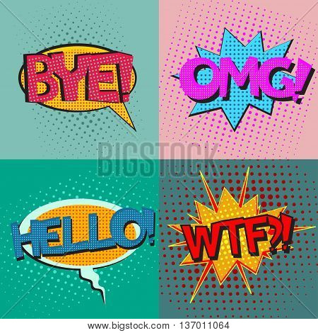 Pop art speech bubbles set with texts Bye OMG Hello WTF, comic book speech bubbles set, colorful speech bubbles set with texts on a dots pattern backgrounds in pop-art retro style, vector