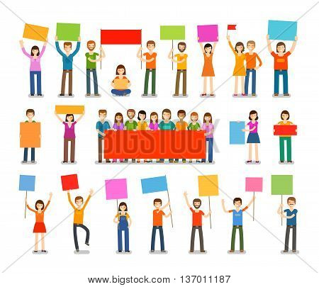 Demonstration, procession, parade icons. People with placards isolated on white background. Vector illustration