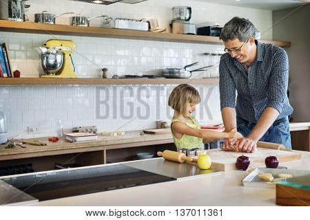 Family Father Girl Making Cookies Learning Baking Concept