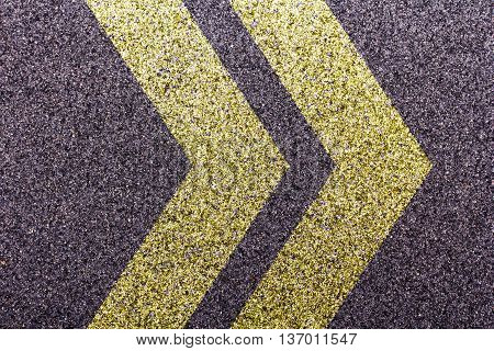 Tarmac With A Double Yellow Cheveron Design