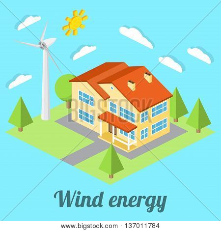 Low-energy House With Wind Turbine. For Web Design, Mobile And Application Interface, Also Useful Fo