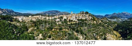Panorama of spanish hillside village Polop de la Marina. Province of Alicante Costa Blanca. Spain