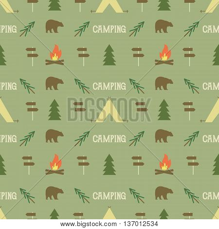 Camping elements pattern. Camping seamless wallpaper design. Equipment for camping background for print. Adventure or camping gear pattern- tent, bear, tree, bonfire. Nature pattern design. Vector.