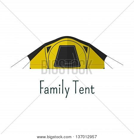 Family tent flat icon. Camping tent color pictogram. Tent symbol for Vacation with family. Summer graphics for web infographics, projects, printing. Vector design.