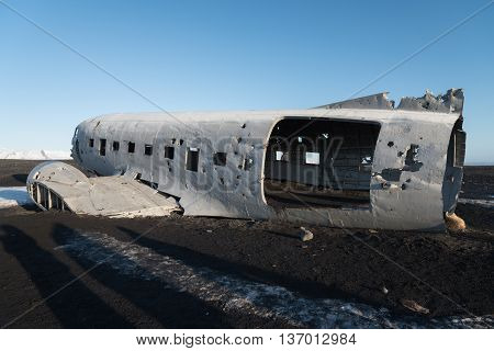 Wrecked DC-3 US navy airplane in Solheimasandur, Iceland