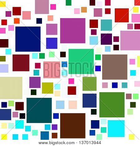 Lots of colorful square shapes on a white background.