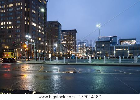 Boston, Massachusetts, USA - March 17, 2016: Early morning along Seaport Boulevard in South Boston