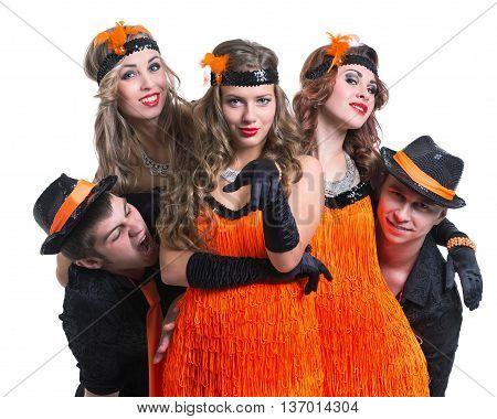 Cabaret dancer team dancing. Retro fashion style, isolated on white background.