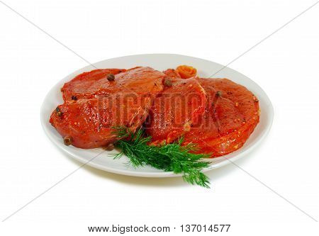 Raw meat. Pork escalope with sause Isolated Against White Background