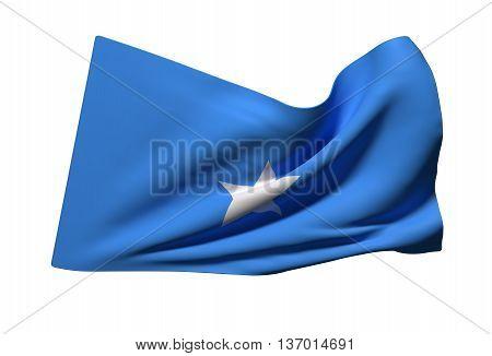 3d rendering of Somalia flag waving on white background