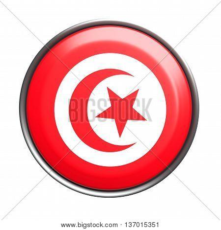 Silhouette Of Tunisia Button