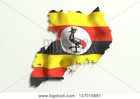 Silhouette Of Uganda Map With Flag