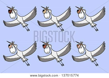 set of six flying storks carrying a bundle with a different nationalities newborn babies
