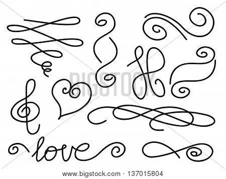 vector set of handwritten curls and swirls design elements