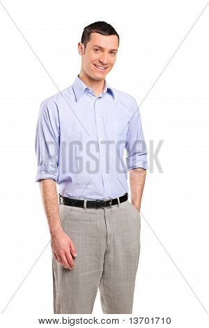 Smiling Young Casual Man Looking At Camera With Confidence