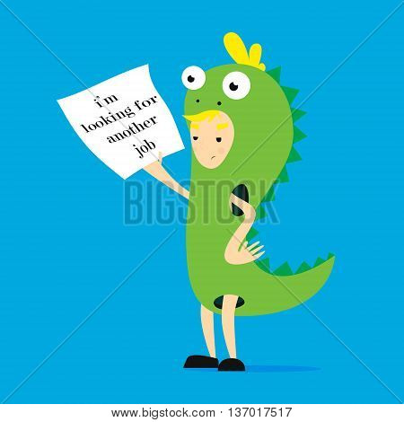 Promoter in dinosaur costume. Vector flat cartoon illustration im searching another work
