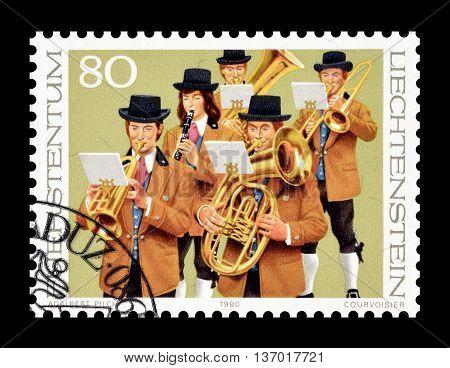 LIECHTENSTEIN - CIRCA 1980 : Cancelled postage stamp printed by Liechtenstein, that shows Musicians.