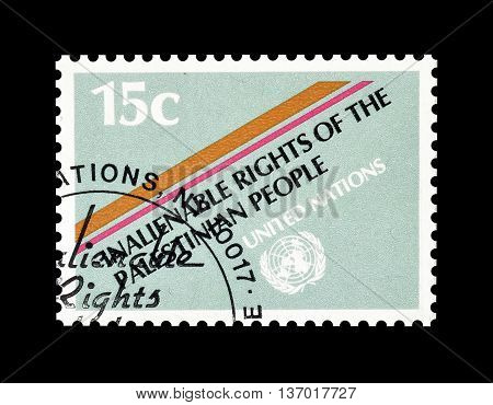 UNITED NATIONS - CIRCA 1981 : Cancelled postage stamp printed by United Nations, that promotes rights of the Palestinian people.