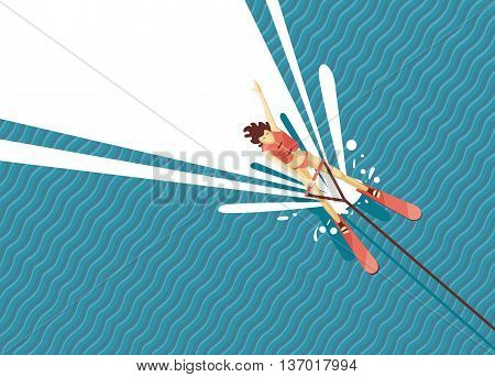 Top view of woman water skiing. Cartoon illustartion.