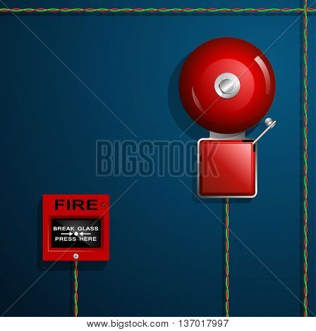 Fire alarm on the wall. Red Bell, button and wires.