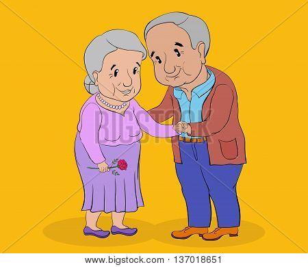 gray-haired elderly woman and a middle-aged man standing and holding hands smiling