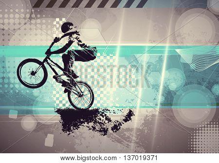 Extreme sport, bmx rider. Vintage style illustration