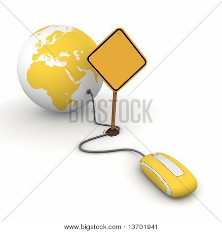 Surfing The Web In Yellow - Blocked By A Yellow Warning Sign