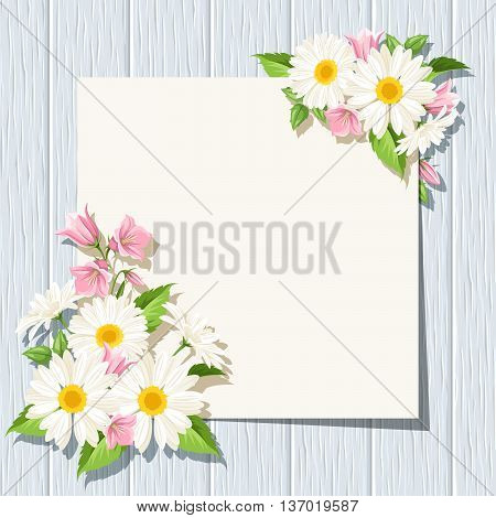 Vector card with daisies and pink bluebell flowers on a blue wooden background.