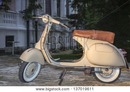 Vintage Vespa classical Italian designed scooter .