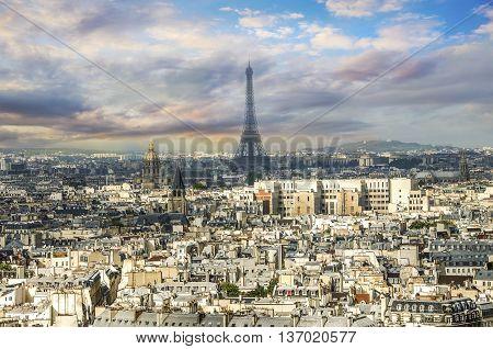 Paris Panorama. View From Cathedral Notre Dame De Paris. France.