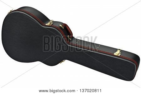 Black leather guitar case with brown handle. 3D graphic
