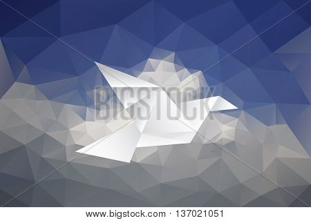 vector illustration with paper bird on paper sky, low poly, abstract background