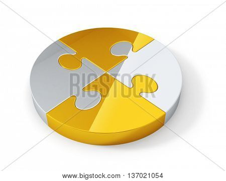 Gold and silver jigsaw puzzle pieces connected in the whole. Abstract teamwork concept 3D rendering image.