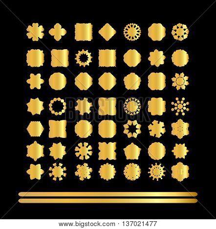 Set Of Retro Vintage Gold Badges And Labels