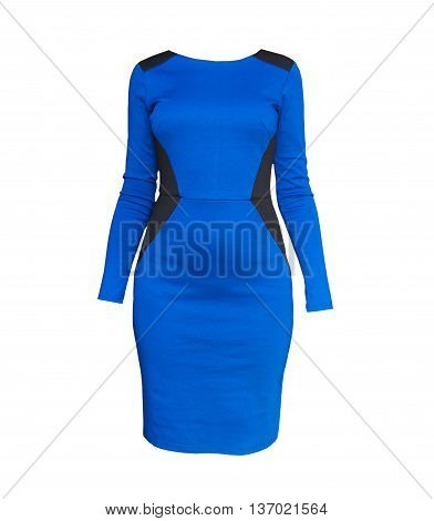 Close up shot of evening woman blue dress isolated on white/Elegant blue form fitting dress isolated over white