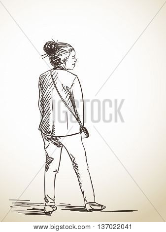 Sketch of young asian woman, Hand drawn vector illustration