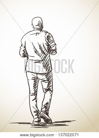 Sketch of baldheaded man from back, Hand drawn illustration