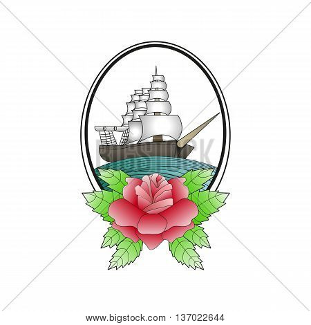 Sailboat and rose. Old school tattoo. Sketch. Vector.