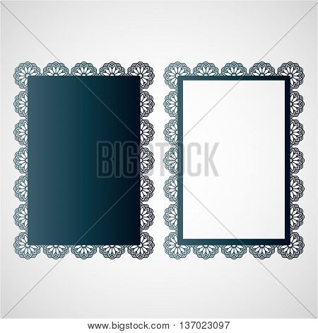 Photo frame template with an openwork floral pattern. Vector mocap for laser cutting of decorative elements.
