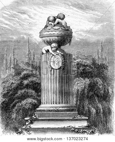 Monument. From Magasin Pittoresque, vintage engraving, 1867.