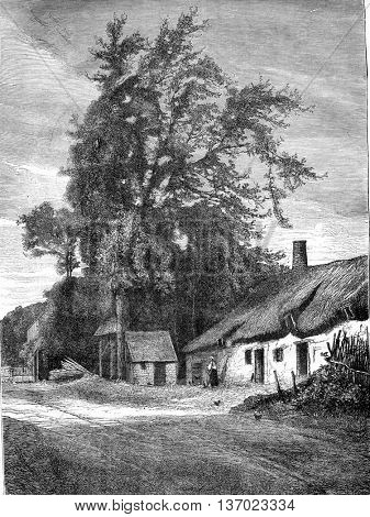 A country home. Drawing by Bellee. From Magasin Pittoresque, vintage engraving, 1876.