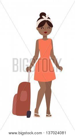 Vacation girl vector illustration.